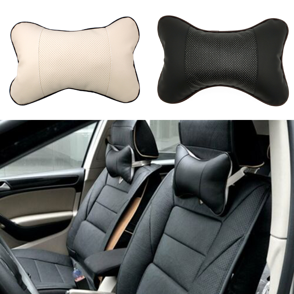 Neck Pillow Car Neck Rest PU Velvet Bone-Shape Cushion Pad Headrest Car Auto Seat Travel Head Neck Pillow
