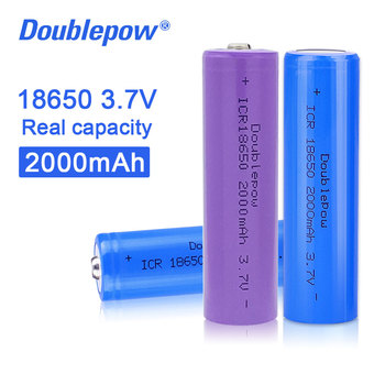 Doublepow 100% original new 18650 3.7v 2000mah 18650 rechargeable lithium battery for flashlight batteries