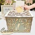 Bricolage boîte de carte-cadeau de mariage tirelire en bois avec serrure belle décoration de mariage fournitures de fête d'anniversaire