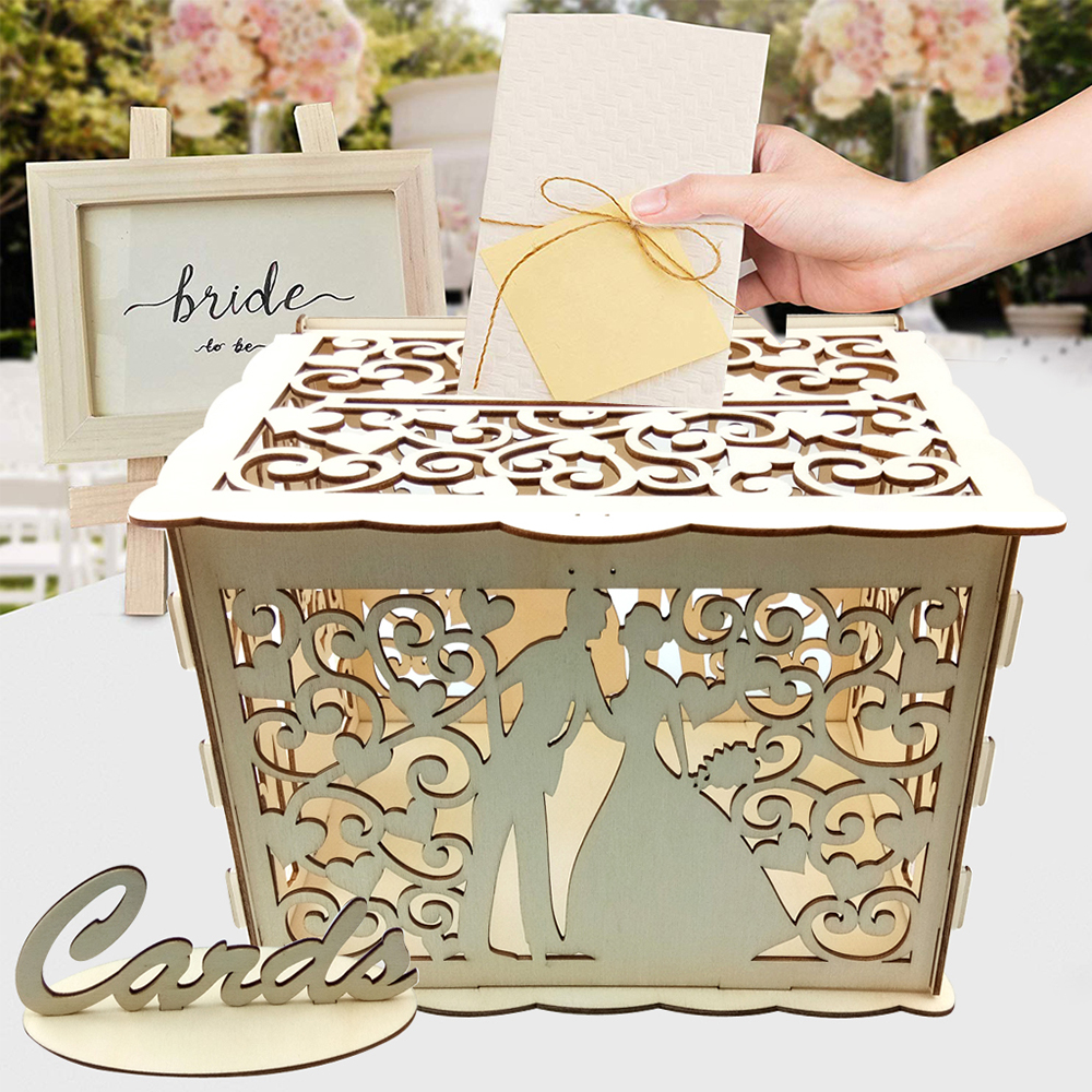 DIY Wedding Gift Card Box Wooden Money Box With Lock Lovely Wedding Decoration Birthday Party Supplies