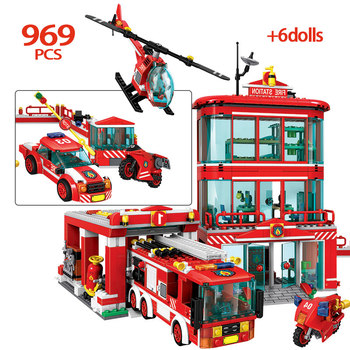 969pcs City Police Fire Truck Car Building Blocks Fire Station Helicopter Firefighter Figures Bricks Toys for Children