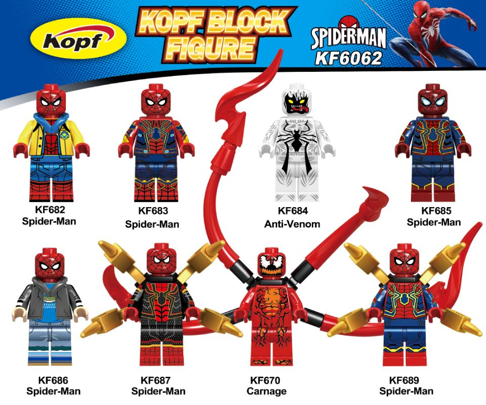 <font><b>KF6062</b></font> Building Blocks Super Heroes Avengers Spiderman Anti-Venom Captain American Carnage Action Figures For Children Gift Toys image