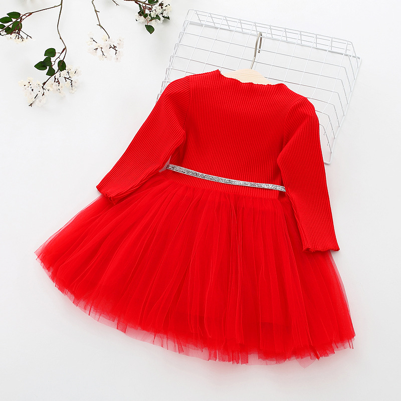 Baby Girls Spring Autumn Sweater Dress Infant Girl's Christmas Children Clothing Toddler Kids Dresses Clothes for 1- 6 Years 4