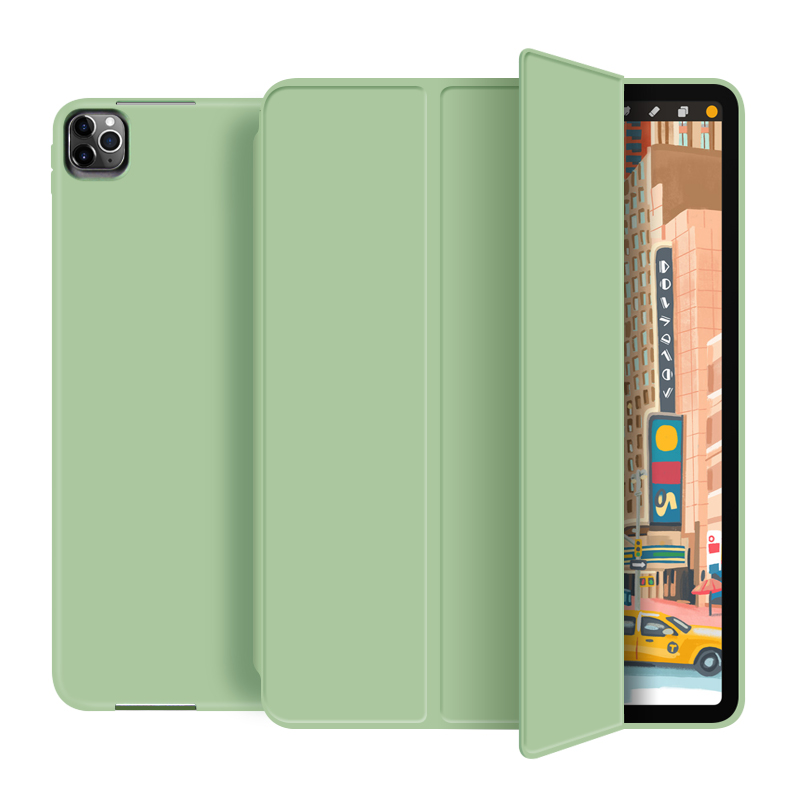 Matcha green Purple For New iPad pro 12 9 inch 2020 Smart case Tri fold soft bracket cover for