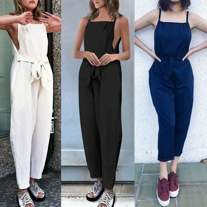 Women Jumpsuit Rompers Womens Jumpsuit Suspenders Rompers Solid Color Sleeveless Overall Plus Size Jumpsuits Woman Clothes