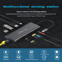 9 In 1 Type-C Laptop Docking Station USB3.0 HDMI TF LAN PD USB Hub For Macbook Huawei XiaoMi DELL Surface Lenovo Dock Type-C Hub
