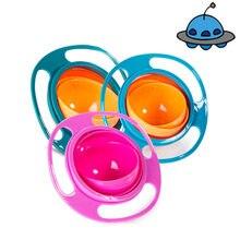 Novidade Universal Gyro Bowl Formação Prática Projeto Crianças Equilíbrio Rotativo 360 Graus Rotate Spill-Proof da Alimentação Do Bebê Pratos