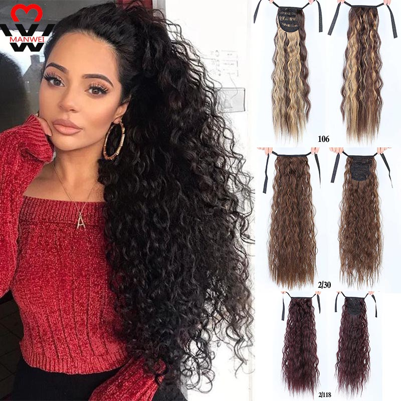 MANWEI Curly Long Ponytail For Black Women Hair Heat Resistant Synthetic Synthetic Hair Pony Tail Hair Extension