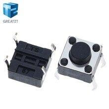 Greatzt 50 pçs interruptor de botão tátil para arduino 6x6x5mm 6*6*5mm 4pin