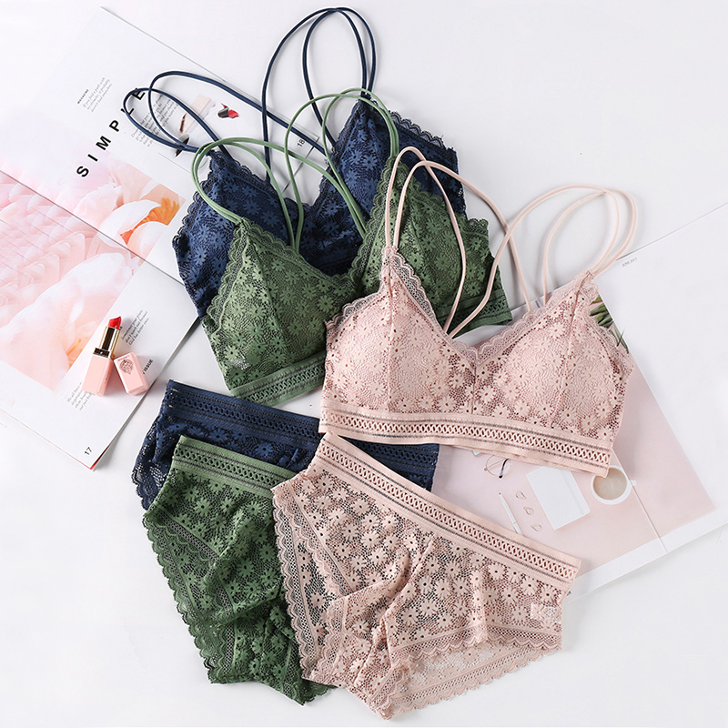 Sexy Underwear set Lace Bra Sets Women Seamless Bralette Top Thin Panties Padded Lingerie Backless Wirefree Female Intimates #F 1