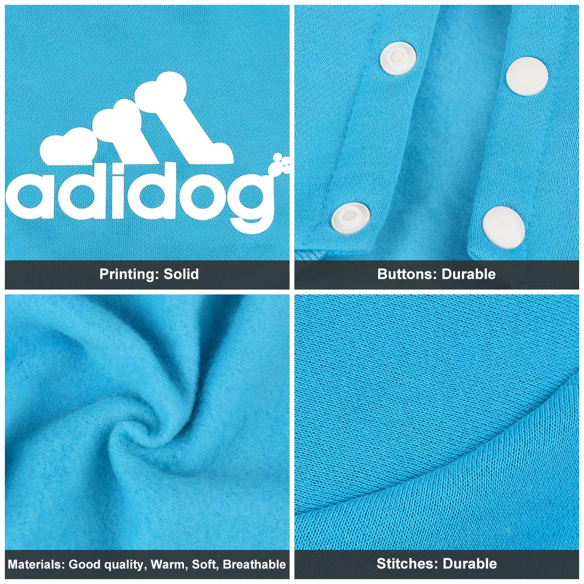 ADIDOG Dog Jacket with Hoodie and Four-Legged Design Made with Breathable Cotton Material 2