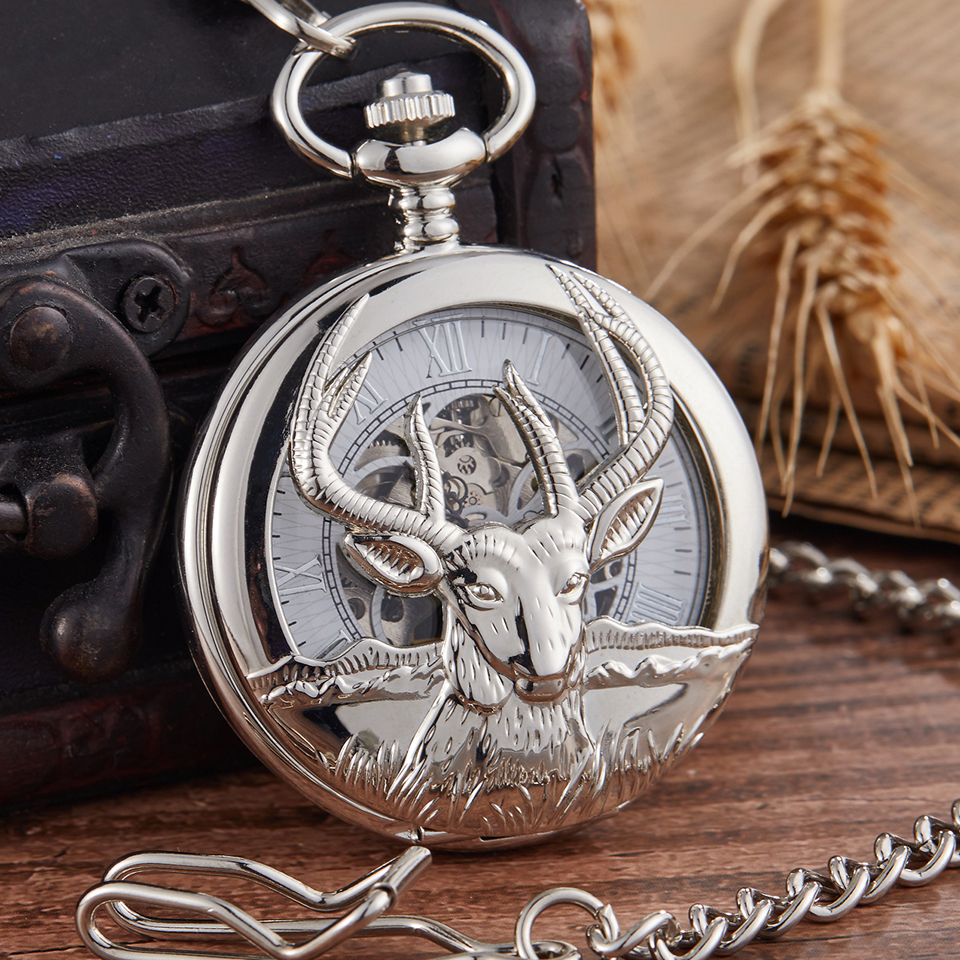 Vintage Hollow Goat Design Mechanical Pocket Watch Steampunk Retro Hand Winding Fob Unisex Watch Chain Necklace Pendent Reloj