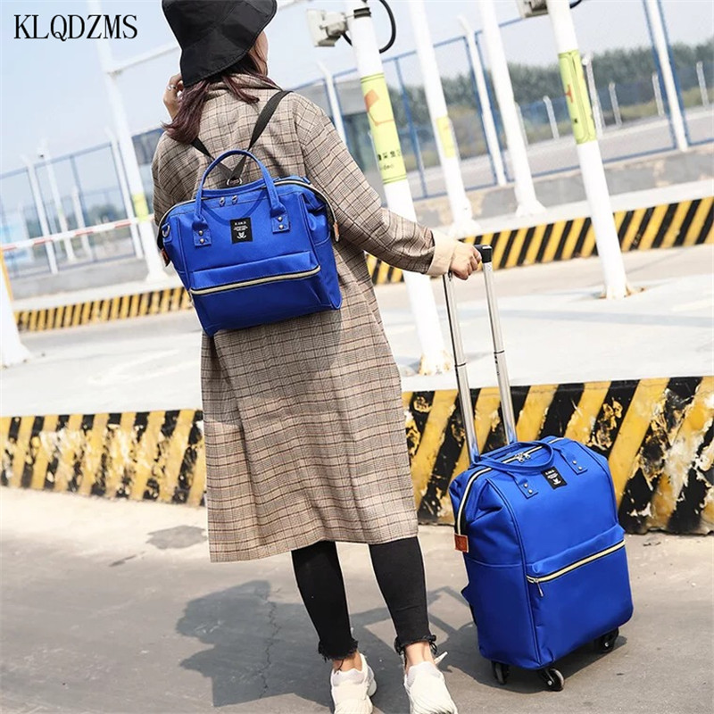 KLQDZMS Waterproof Nylon Suitcase On Wheels Set Cabin Rolling Luggage With Laptop Bag Suitable For Outdoor Traveling HOT