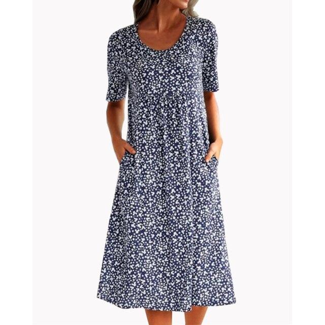 Women Printed O-neck Dress Short Sleeve A-Line Knee Length Pleated Dresses For Woman Summer Dress Women Casual Cotton Dress 1