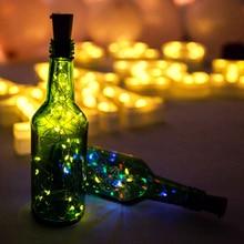 YINUO LIGHT 2m 20 LED Wine Cork Light Wine Light Bottle Cork-shaped String Starry Fairy Light for Wedding Christmas Bar Decor wine bottle cork shaped string light 20 led night fairy light lamp lr44 battery drop shipping 8 1
