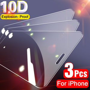 3Pcs Full Cover Protective Glass on For iPhone 11 Pro Max X XS Max XR Screen Protector For iPhone 7 8 6 6S Plus SE 2020 11 Glass