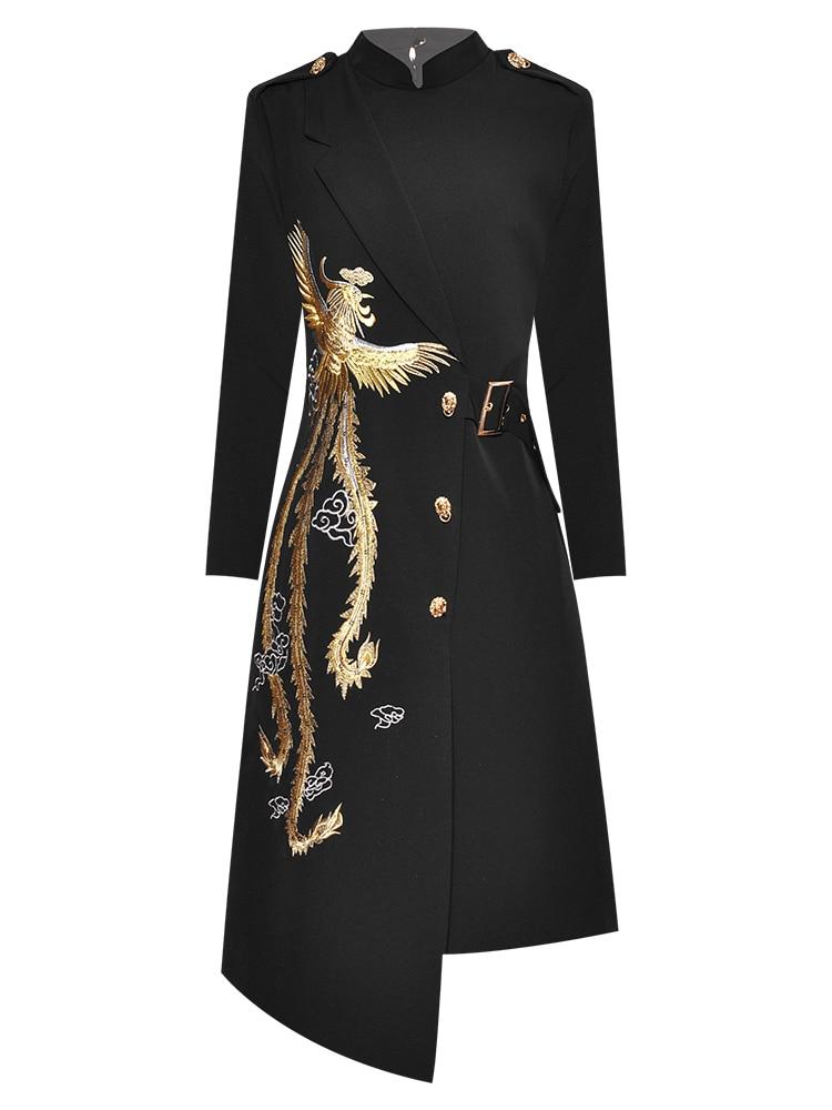 Aeleseen runway moda vestido preto das mulheres