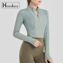Sports-Jacket Half-Zipper Running Yoga-Tops Fitness Breathable Women Gym Cycling Long-Sleeve