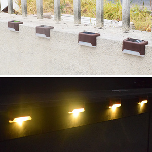 Image 3 - 12pcs Stairs Fence Led Lamp Outdoor Pathway Patio IP65 Waterproof Warm White Bright Durable ABS Solar Deck Light Yard Garden
