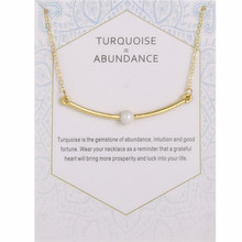 Gold Color Jewerly Abundance Imitation Pearl Curved Bar Pendant Necklace For Women Best Gift недорого