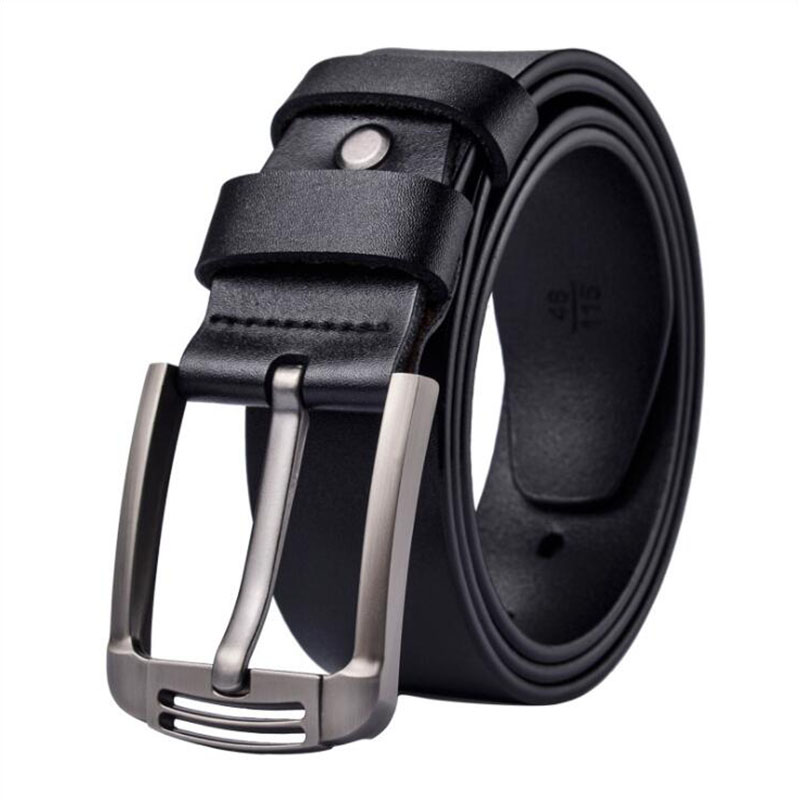 Men's genuine leather luxury brand belt high quality alloy pin buckle men's business retro youth with jeans new belt
