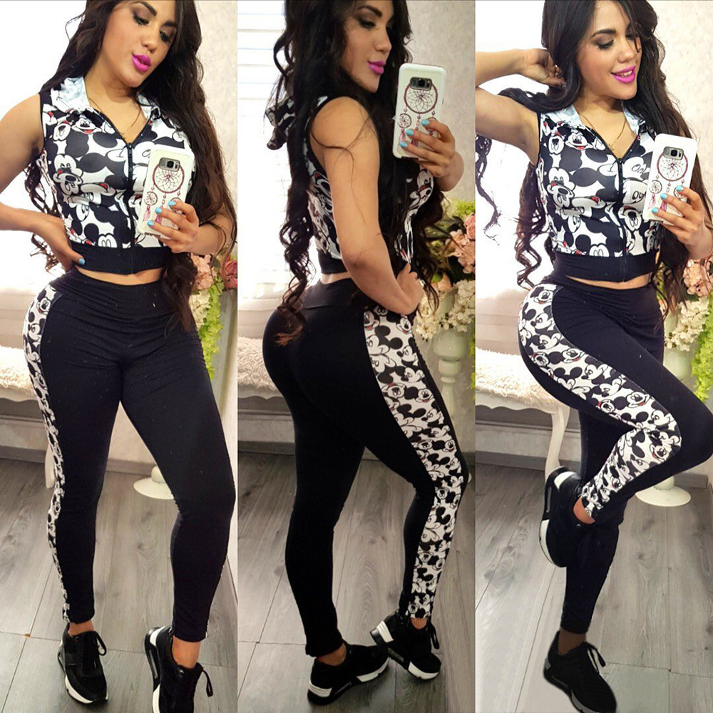 Woman Streetwear Cute Cartoon Printed Hooded Collar Sleeveless Crop Top Black Pencil Trousers Two Piece Set Lady Outfits Y186