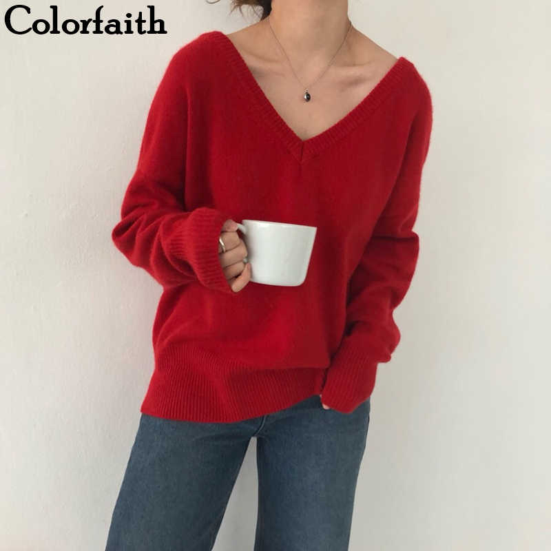 Colorfaith New 2019 Autumn Winter Women's Sweaters Loose Casual Fashionable Minimalist Tops Korean Style Knitting Ladies SW7113