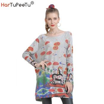 Pullover Sweater Dress Women Big Size Autumn Winter Vintage Knit Sweaters Funny Cartoon Print Batwing Long Sleeve Loose Tops batwing sleeve self tie knit dress