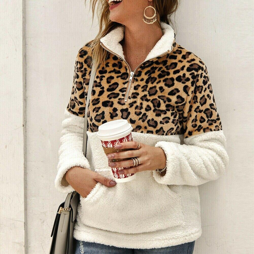2020 Winter Fleece Sweater Fashion Leopard Patchwork Fluffy Thick Sweaters Warm Zipper Pullovers Women Winter Coat Sherpa Tops