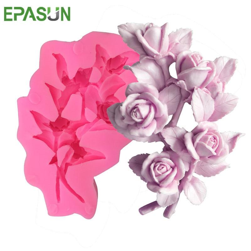 EPASUN 3D Soap Mold Flower Fondant Rose Savon Making Candy Silicon Mould Sugarcraft Jabon Cake Decorating Gumpaste DIY Tools