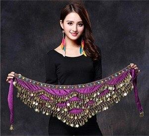 Image 4 - Women Belly Dance Costume Hip Scarf Accessories Belt Skirt  Bellydance Coins Silk Scarf Waist Chain Wrap Crystal Adult Dancewear