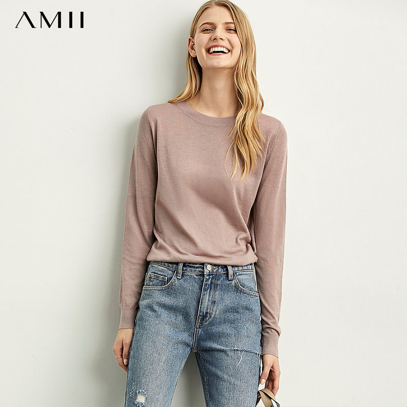 Amii Long-sleeved Round-necked Sweater Female Spring New Underwear Knitted Bottom Blouse Thin Loose Pullover  11920348