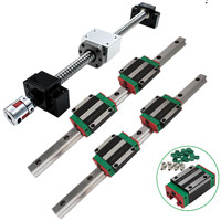 2 set HGR20 hgr15 Linear Guide Rail & 4 HGH20CA HGW20CC Bearing 1 RM1605 sfu1610 Ball screw & BF12/BK12 Stepper Coupling for CNC
