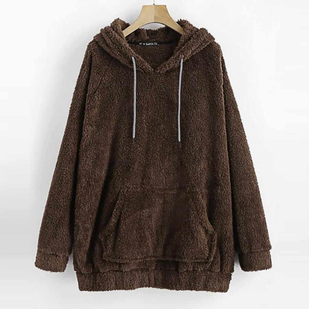 2019 invierno nuevas sudaderas con capucha de Harajuku para mujeres de Color puro de felpa suéter de bolsillo con capucha tapa Top blusa femenina sudadera