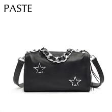 Большая цепь Звезда дизайн топ-ручка Сумочка натуральная коровья кожа женская сумка через плечо высокое качество Дорожная сумка