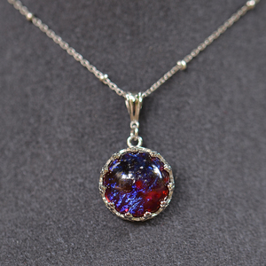 Image 5 - MosDream Dragons Breath Pendant Necklace Fire Opal Round Cabochon 13mm Vintage Elegant Gift for Women Blue Light Necklace