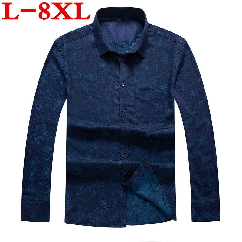 8XL 7XL 6XL Plus Size Men Shirt Long Sleeve Fashion Floral Printing Male Shirts Brand Clothing Casual Shirt Man Camisa Masculina