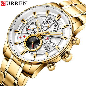 CURREN 8362 Watch Men Top Luxury Brand Gold Sport Waterproof Chronograph Watch With Box