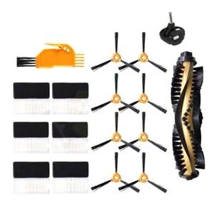 17 sztuk szczotka boczna kółka filtr dla ECOVACS DEEBOT 600 601 605 710 N79 N79S części zamienne do odkurzaczy