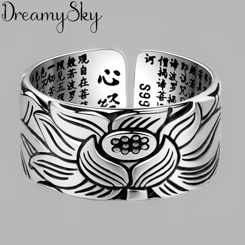 Vintage Real Pure Silver Color Lotus Flower Rings for Women Wedding Big Open Finger Ring Anillos Anelli