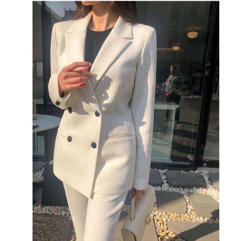 Fashion 2 Piece Set Women Blazer Set Double-breasted Slim Jacket Pant Suit Office Ladies Work  Female  Suit