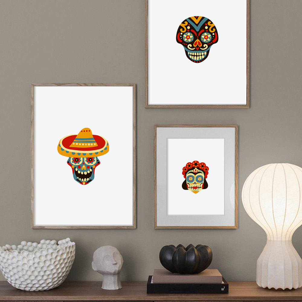 Cartoon Mexican Skulls Minimalist Wall Art Canvas Painting Nordic Posters and Prints Wall Pictures for Living Room Home Decor