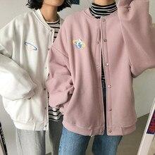 2 colors 2019 korean style cartoon embroidery Women Hooded Coats Warm sweatshirt Female winter