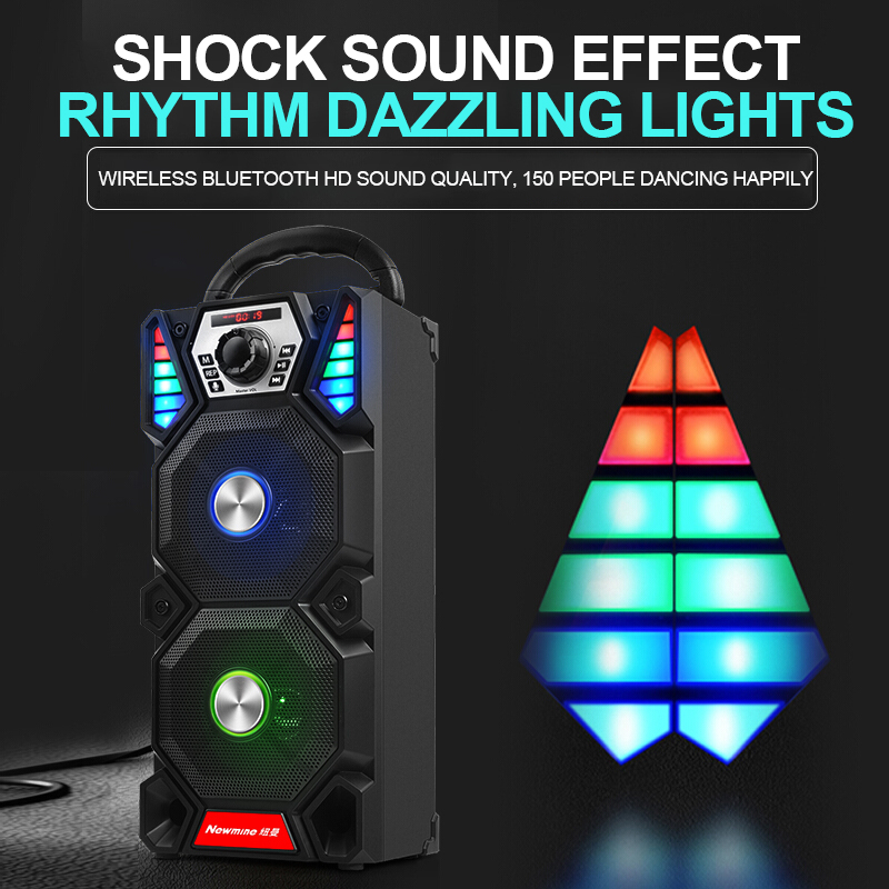 Newmine A1 Outdoor LED Light Bluetooth Speaker Wireless Support TF Card FM Mic Square Party Pull Rod KTV Portable Subwoofer 4