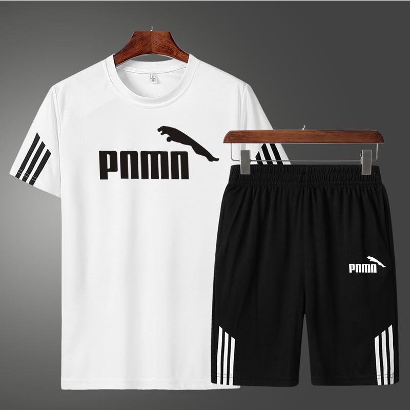 Summer 2 Pcs/Set Men's Tracksuit Sports Suit Gym Fitness Compression Clothes Running Jogging Sport Wear Exercise Workout Set