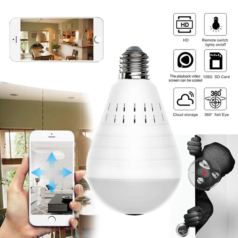 OOBEST Wifi Panoramic Camera Smart light bulb 360 Degree Fisheye Wireless Home Security Video Surveillance built-in speaker