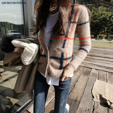 Qiukichonson Vintage England Synthetic Mink Cashmere Sweater Women Autumn Winter Warm Fluffy Button Up Cropped Cardigan Plaid