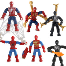 6pcs Marvel Avengers 4 DC Super Heroes Spider Man Far From Home Model Set Building Blocks Toys For Children B577