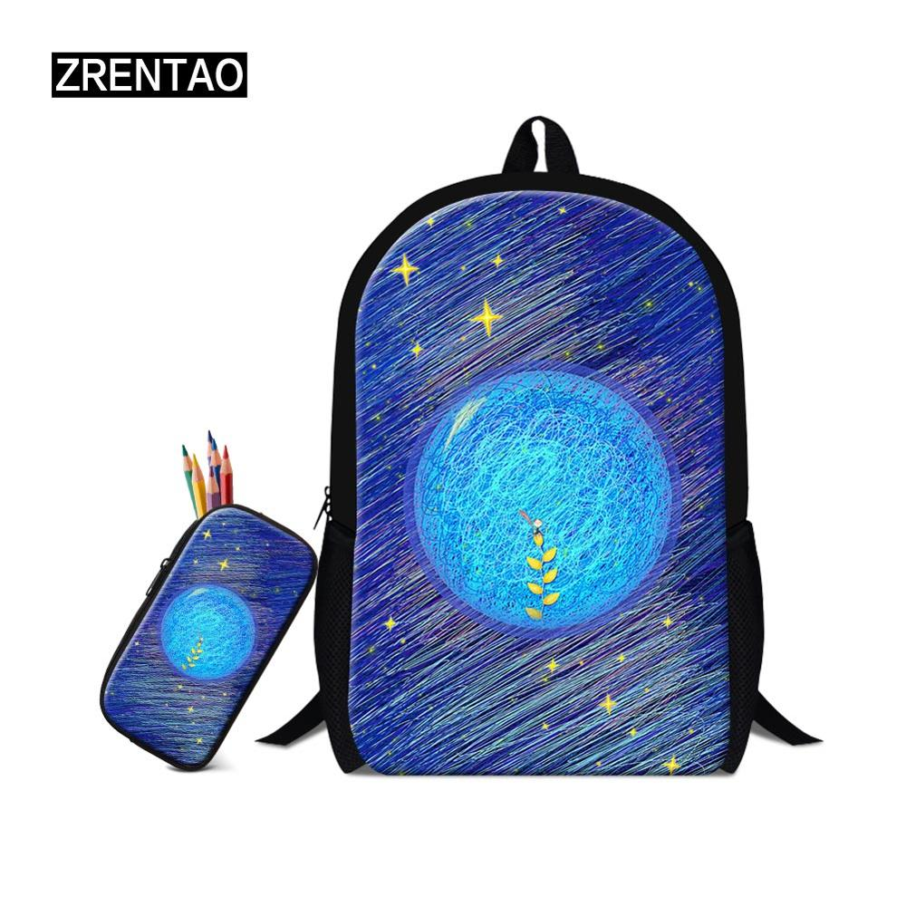 ZRENTAO new fashion pupil daily school backpack set teenagers book bags double shoulder mochilas set for boys girls travel bag