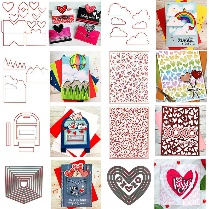Heart Pocket Mountain Clouds Post Box Fluttering Hearts Pierced Cover Plate Cutting Dies For Scrapbooking Card Crafts New 2020